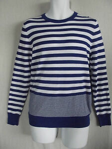 Mens Express Small Blue White Mixed Striped Sweater Lightweight