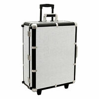 Professional Makeup Artist Station Cosmetic Rolling Case Light Mirror Wheeled