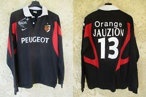 Maillot rugby STADE TOULOUSAIN 2007 JAUZION n°13 coton NIKE noir vintage rare L