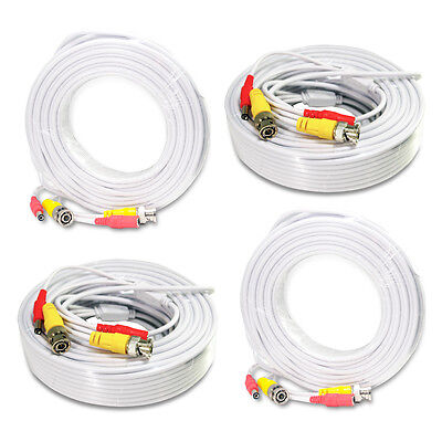 4×50ft Security Camera Cable CCTV Video Power Wire BNC RCA White Cord DVR BLACK