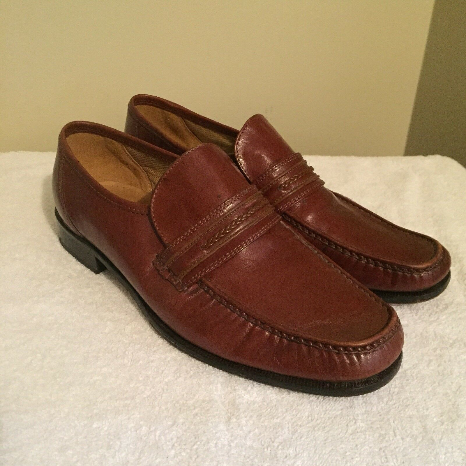 Melluso Calzata Italian Leather Slip On Loafers Brown Mens US 9 EUR 42