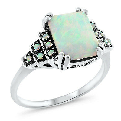 WHITE LAB OPAL ANTIQUE VICTORIAN DESIGN 925 STERLING SILVER RING SZ 4.75,#643
