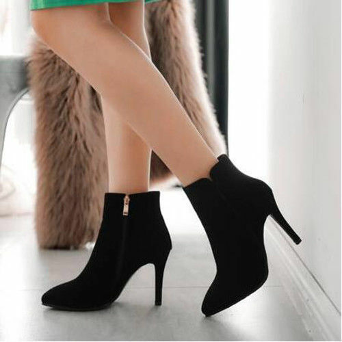 Plus Size 34-47 Ladies Pointed Toe Party Pumps shoes High Heels Zip Ankle Boots