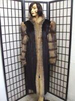 ! MINT CANADIAN DARK RANCH MINK & CRYSTAL FOX FUR COAT JACKET WOMEN WOMAN SZ 12