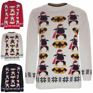 ec2f7dcd0b9a Boys Girls Unisex Christmas Batman Penguin Jumper Sweater Sweatshirt ...