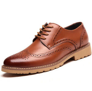 Men-Brogue-Genuine-Leather-Shoes-Formal-Dress-Wedding-Oxfords-Lace-Up-Business