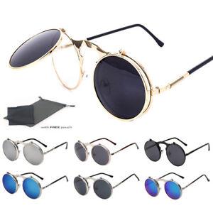 8f3e7eeba503 Vintage Retro Flip-up Sunglasses Men Women Metal Round John Lennon ...
