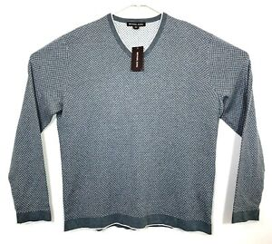 Michael-Kors-Mens-Size-XL-Gray-Ash-Melange-Long-Sleeve-Pullover-Sweater-Cotton