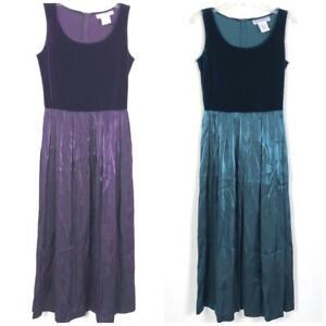 Vintage-Jessica-Howard-Women-039-s-Velvet-Maxi-Dress-sz-8-Blue-Purple-Sleeveless-82
