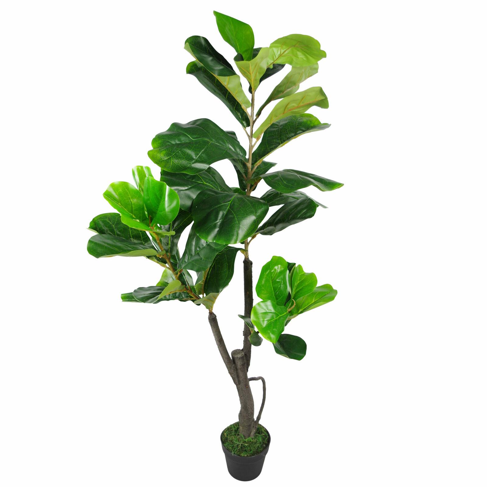 120cm (4ft) Groß Künstlich Geige Feigen Baum Ficus Lyrata Pflanze Leaf-7252