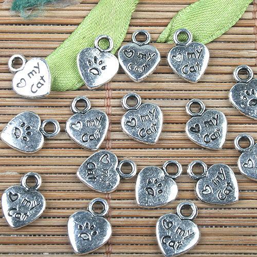 Alloy metal Tibetan Silver color cat footprint design charms 45pcs EF0140