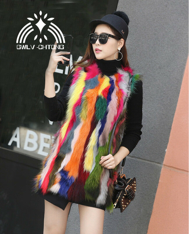 Real natural genuine raccoon fur vest women women women fashion multi-color colorfull gilet 8fac0e