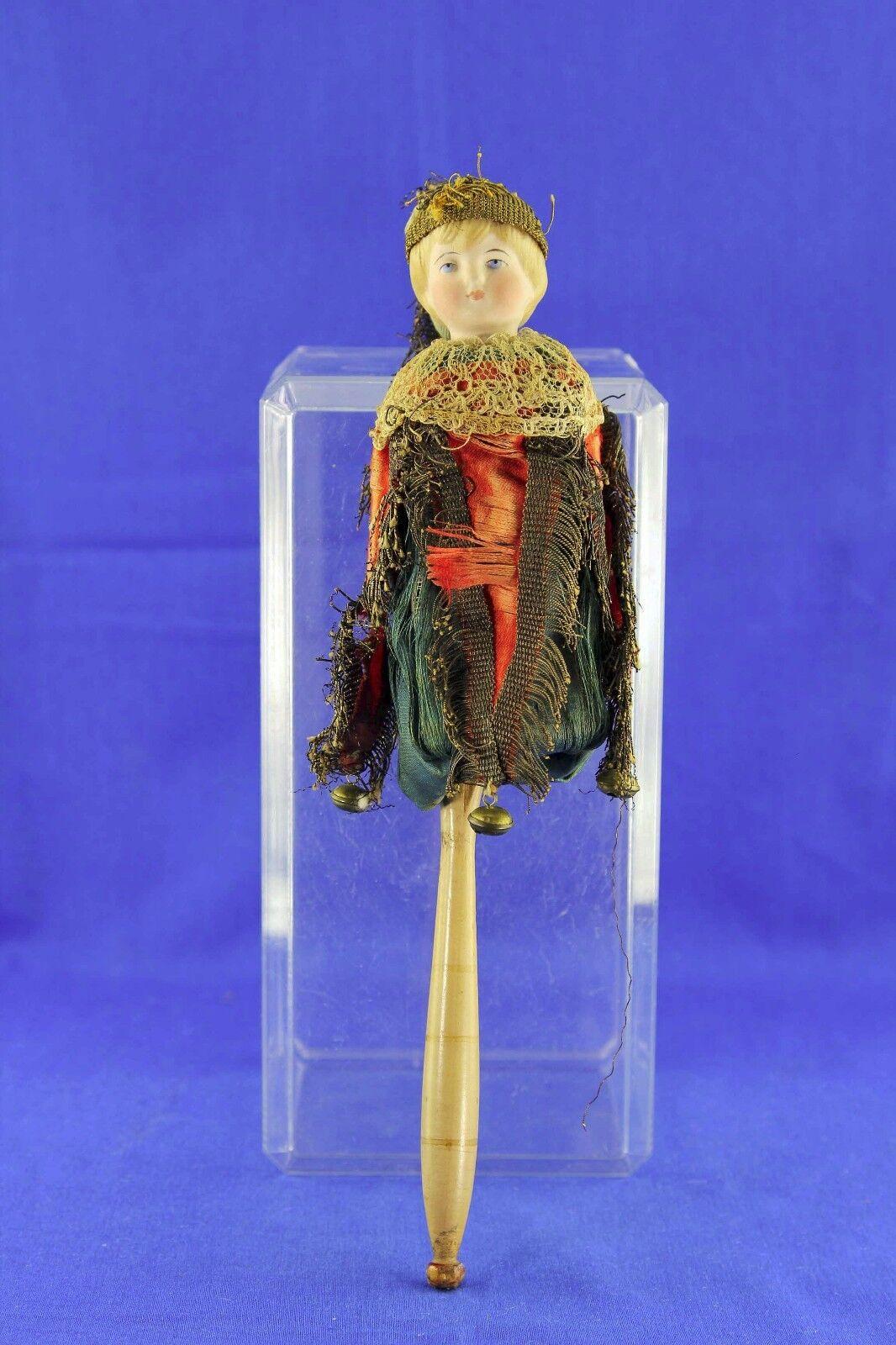 Muñeca Marojote antigua cabeza de Biscuit Moldeado Disfraz De Cabello Rubio Original