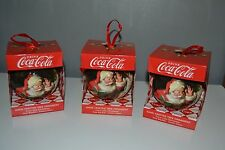 Brand New Coca Cola Christmas Three (3) Hand Crafted Tree Baubles Santa Gift Set