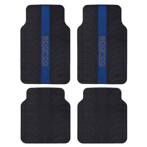 Juego 4 alfombras Sparco universales franja azul pvc//latex para el coche.