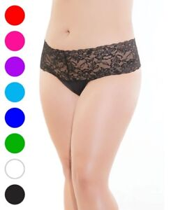 3359b33a1 Image is loading Plus-Size-Stretch-And-Lace-High-Waisted-Thong-