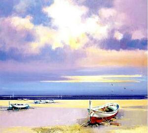 Modern-Handmade-Sea-beach-boat-art-Oil-Painting-Living-Room-Wall-Deco-H2048