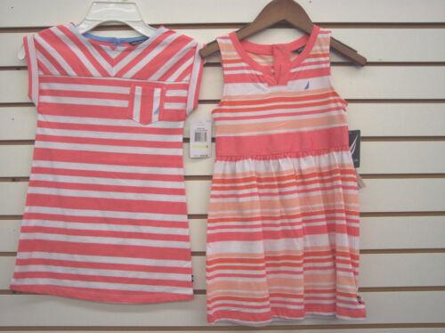 Girls Nautica $34.50 Melon Striped Dresses Size 4-6