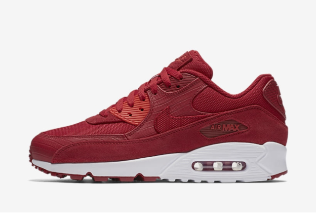 MEN'S NIKE AIR MAX 90 PREMIUM SHOES gym red white 700155 602