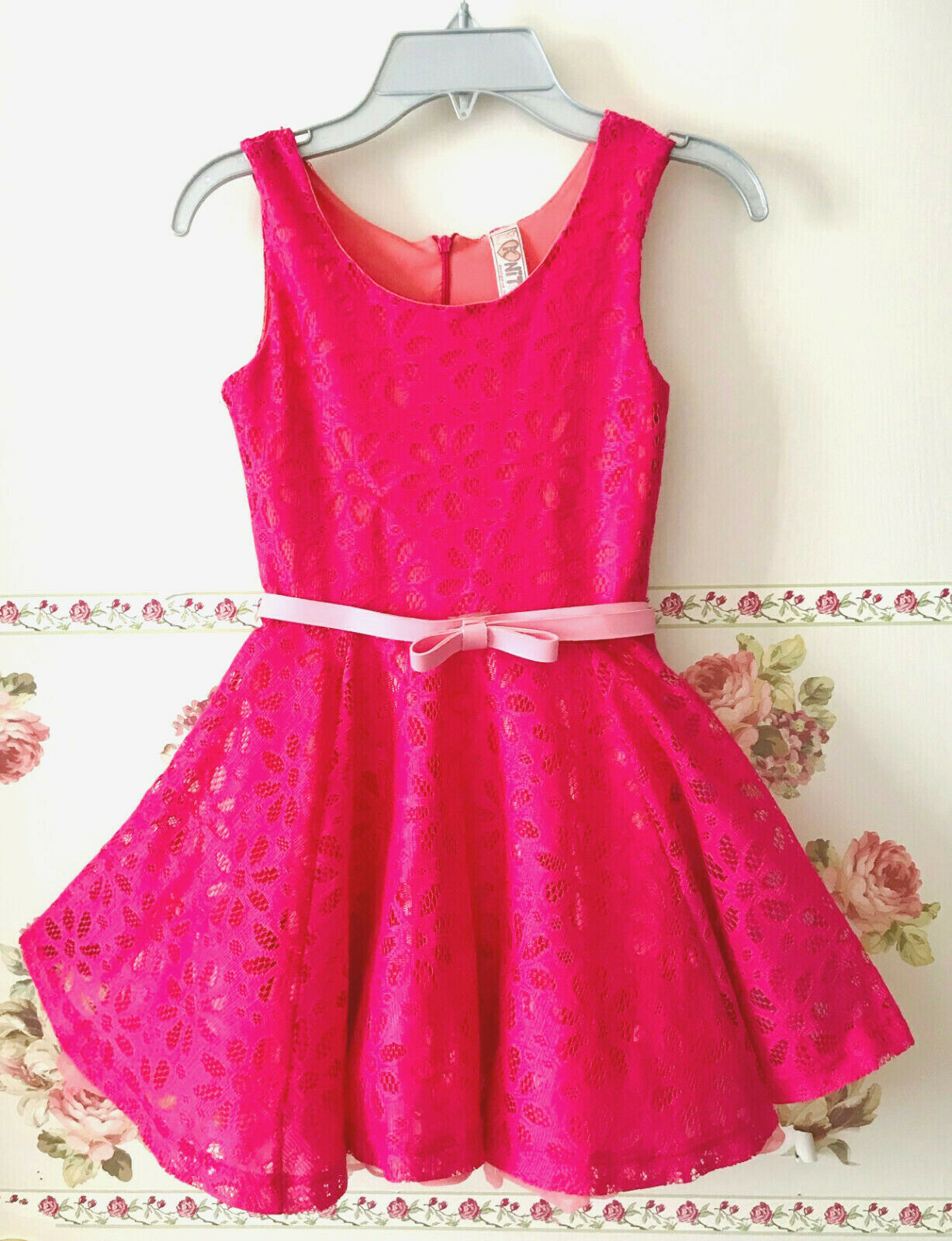 NITWORKS Hot Pink Crochet Lace Flared party Recital Formal Holiday Dress Girls 7