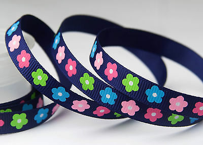 """3/8"""" 9mm Flowers Ink Blue Printed Grosgrain Ribbon Craft Hairbow bow -10YARDS"""
