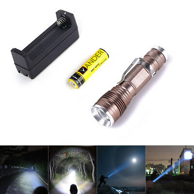 Vander 1200LM Q5 LED Flashlight 18650 Zoomable Light for Camping Hunting