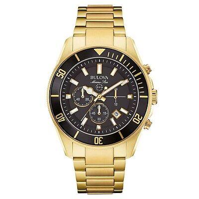 Bulova 98B250 Mens Marine Star Gold Plated Chronograph Watch RRP £599