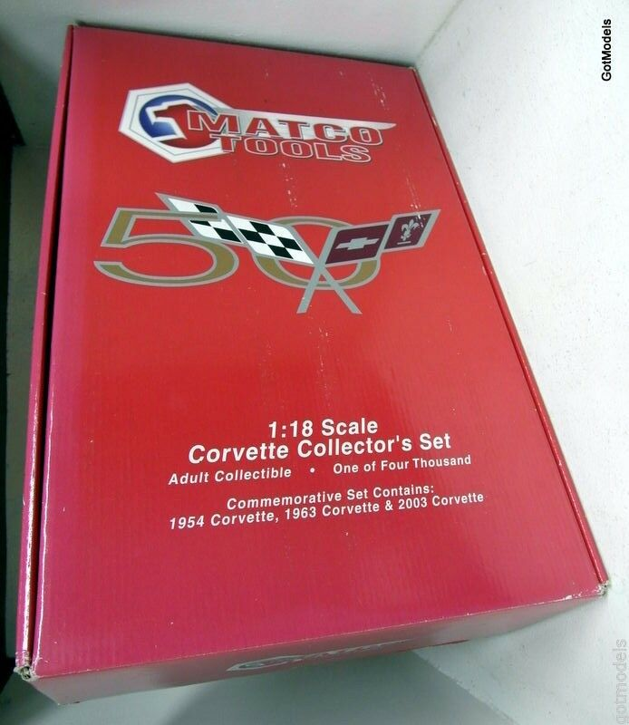 Ertl échelle 1 18 vetset matco tools corvette set 1954, 1963 et 2003 corvettes