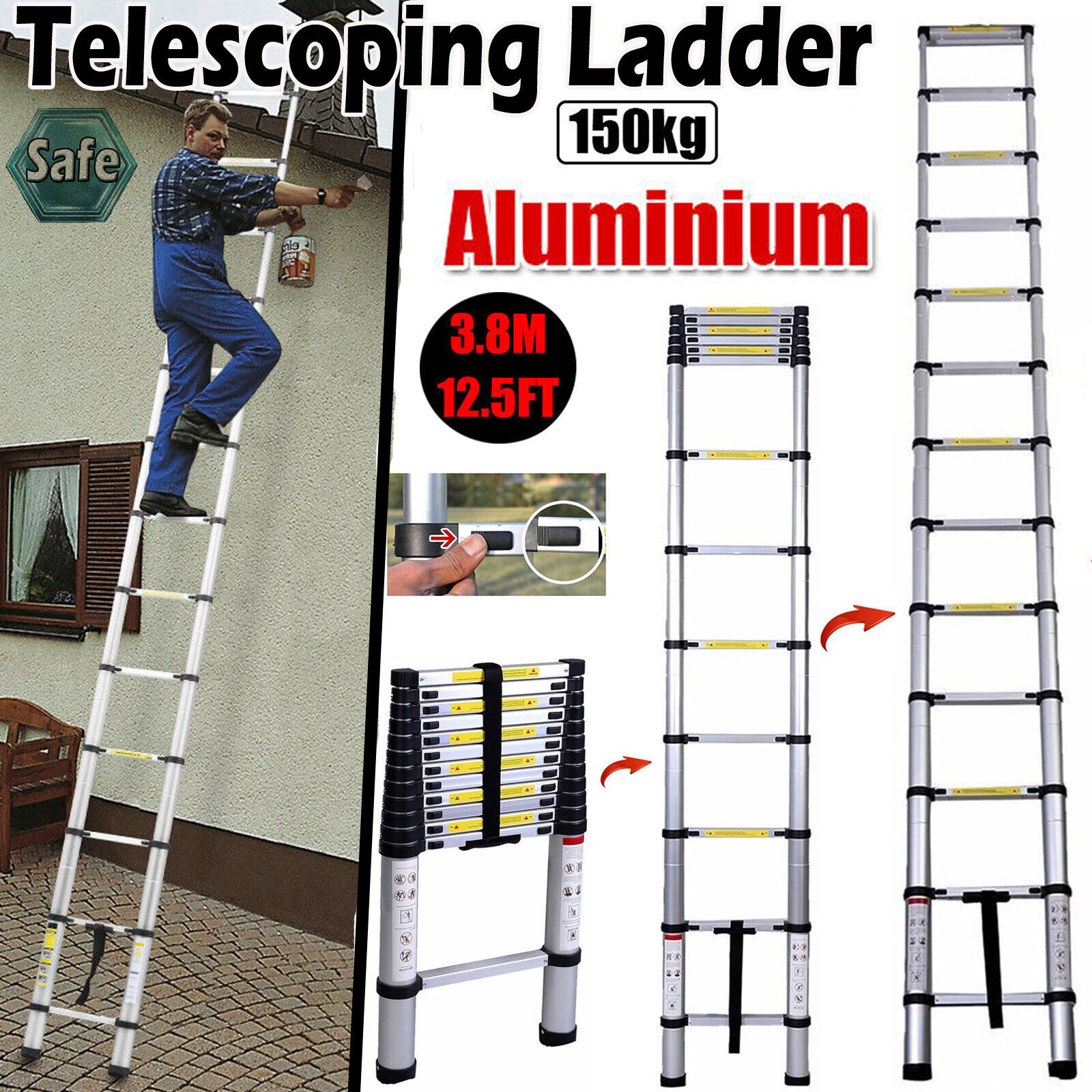 12.5FT Aluminium Ladders Telescoping Multi-Purpose Extension Ladder