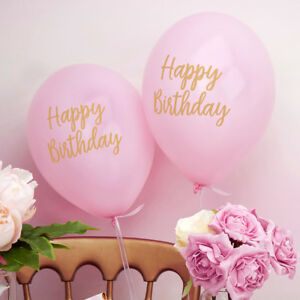 Luftballons Luftballon Happy Birthday Rosa Gold 8 Stuck