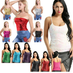 Women-Sequins-Stretch-Tank-Crop-Top-Strapless-Blouse-Tube-Top-Vest-Blouse-Shirts