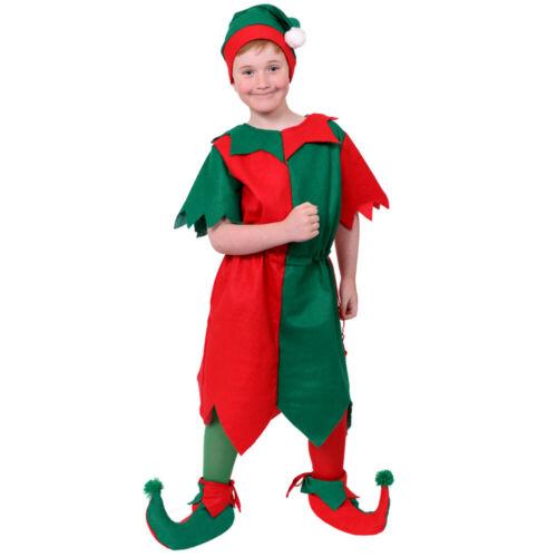 BOYS ELF COSTUME CHRISTMAS CHILDS XMAS FANCY DRESS WITH HAT SANTAS LITTLE HELPER
