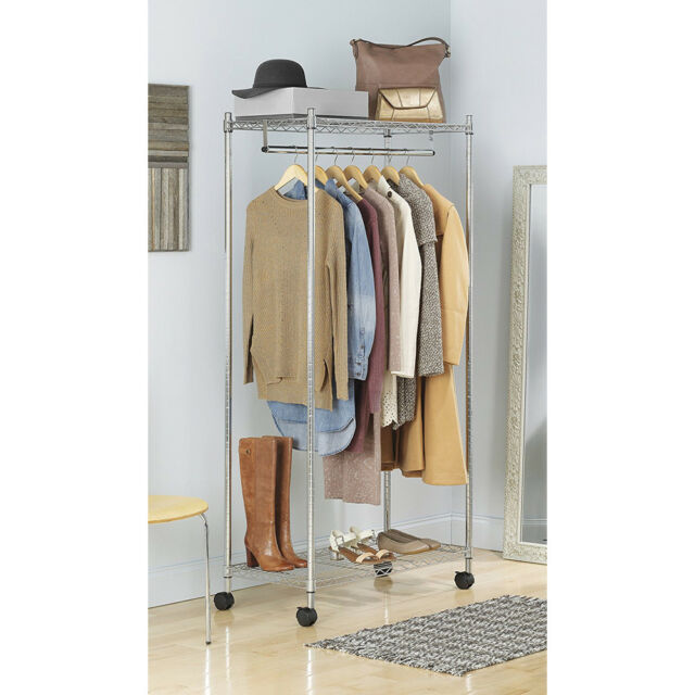 Closet Organizer System Storage Wire Shoes Free Standing Rack Clothes Chrome