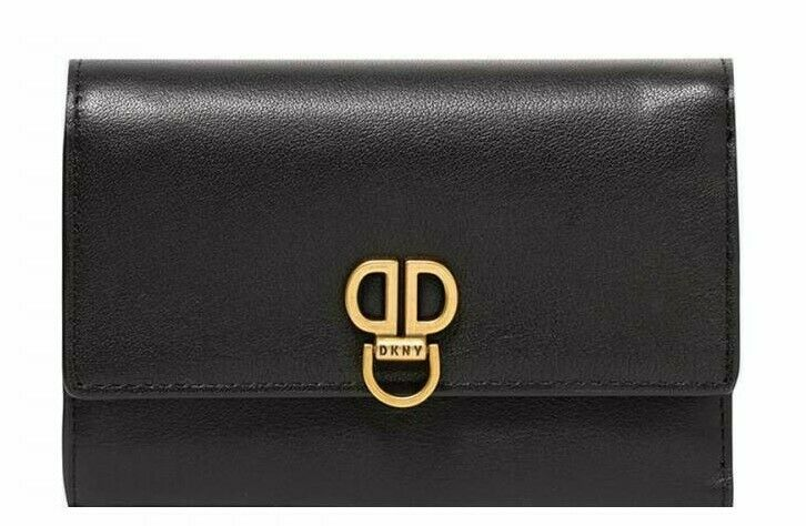 DKNY Clement Black Gold Leather Wallet ID Window Card Case Snap Flap New