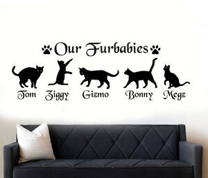Personalised-Cats-034-FURBABIES-Wall-Art-Sticker-Decal