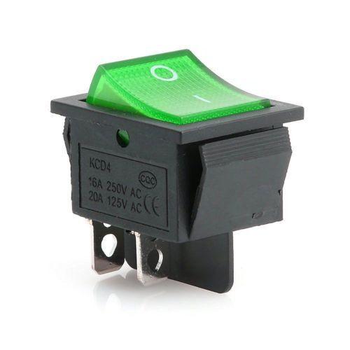 AUS 4 polig Neu Wippschalter Kippschalter Netzschalter 230V Grün beleuchet EIN