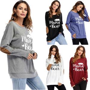 Women-039-s-Mama-Bear-Printed-Hoodie-Sweatshirt-Casual-Pullover-Tops-Blouse-T-Shirt