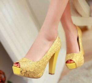 Sexy-Women-Peep-Toe-Dress-Shoes-Lace-Shiny-Platform-Pumps-High-Block-Heel-Ladies