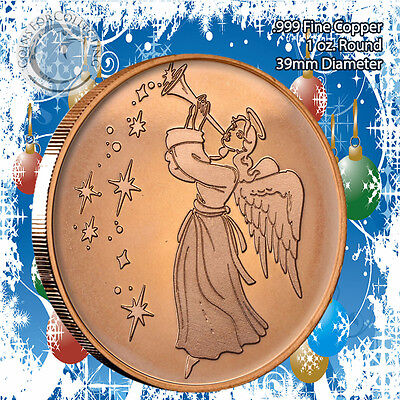 "5 Rounds /""Angel Christmas/"" Design 1oz .999 Copper round with Tree Back"