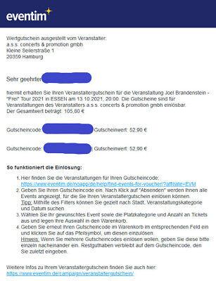 Eventim - 2 x Gutscheine für den Veranstalter: a.s.s