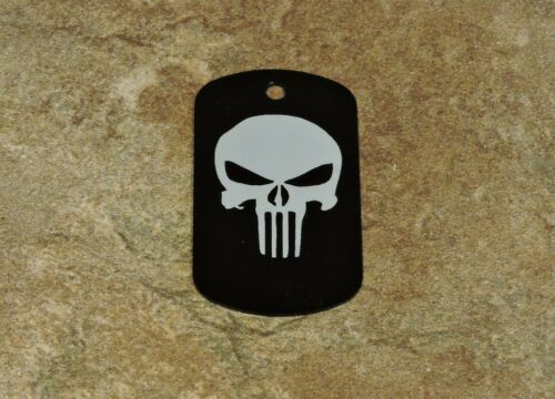 LASER ENGRAVED BLACK DOG TAGS PUNISHER w//rubber silencer