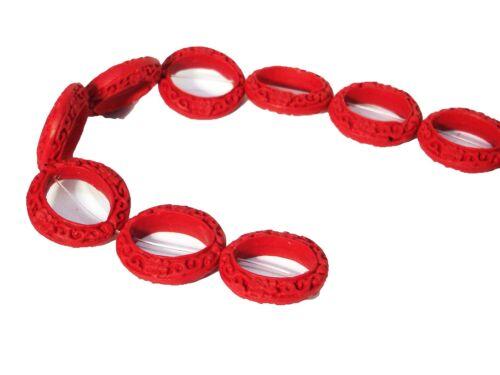 #ed71p rondell 28mm perla Cinnabar 2 unidades estaño Ober rojo Charol chino