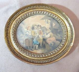 antique-1800-original-figural-children-playing-music-watercolor-painting-drawing