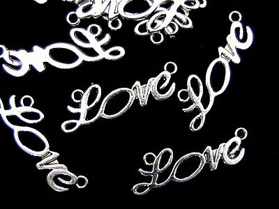 "10 Pcs - Tibetan Silver "" Love "" Connector Charms Jewellery Craft Beading Z19"