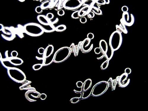 """Tibetan Silver /"""" Love /"""" Connector Charms Jewellery Craft Beading Z19 10 Pcs"""