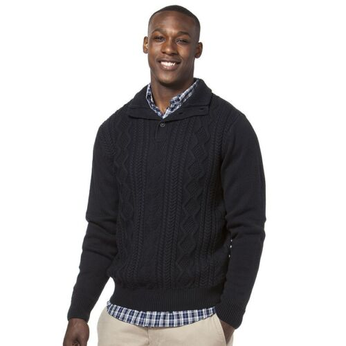 NWT Men/'s Chaps Classic-Fit Cable-Knit Mockneck Sweater College Navy
