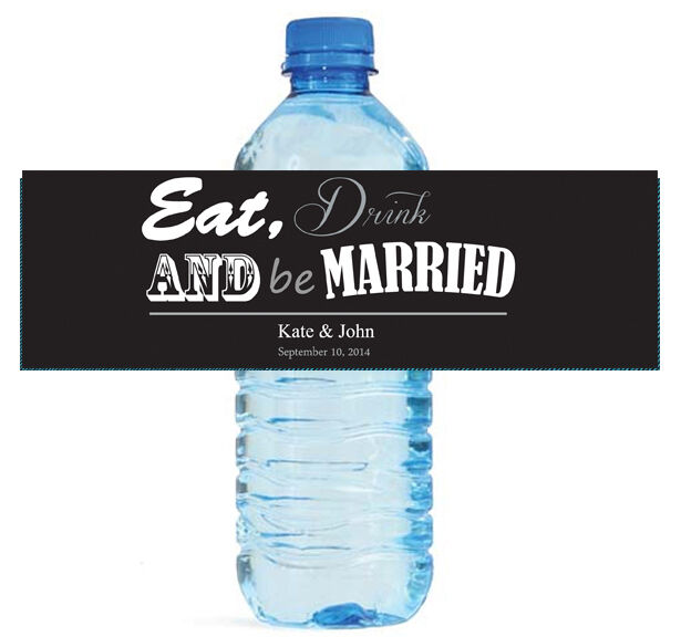 100 Contemporary Wedding Water Bottle Labels Personalized Bridal Shower Party