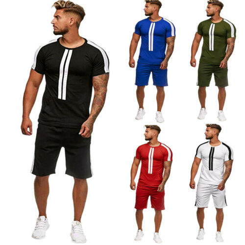 Mens Summer Leisure Stripe Color Collision Short Sleeve Shorts Sports Thin Sets