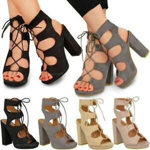507de7364e7 WOMENS LADIES NEW LACE UP BLOCK HIGH HEELS SANDALS ANKLE HI ...