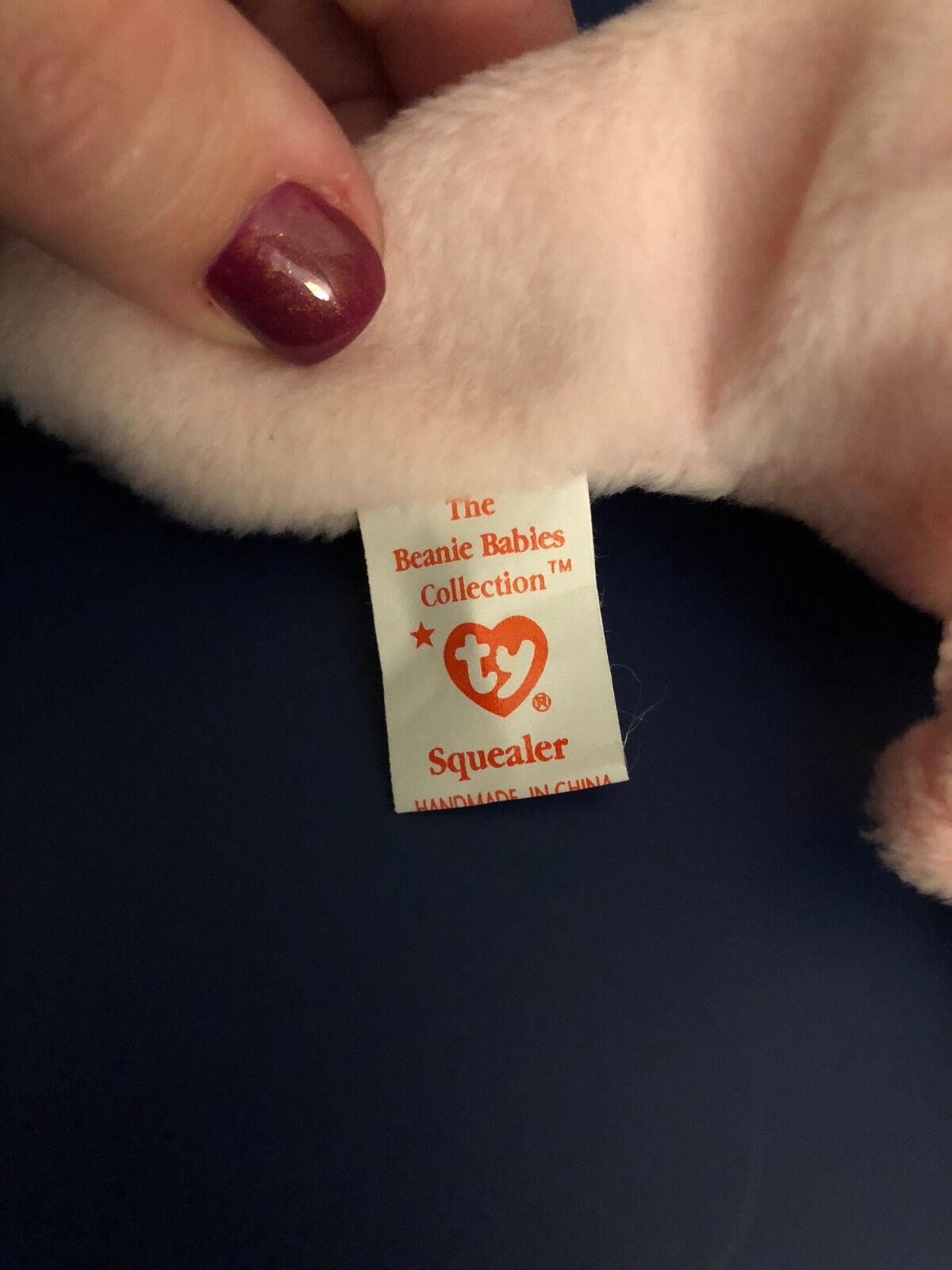 Ty SQUEALER SQUEALER SQUEALER the Original Pink Pig PVC 8  Beanie Baby 1997 MWNT bdbb66